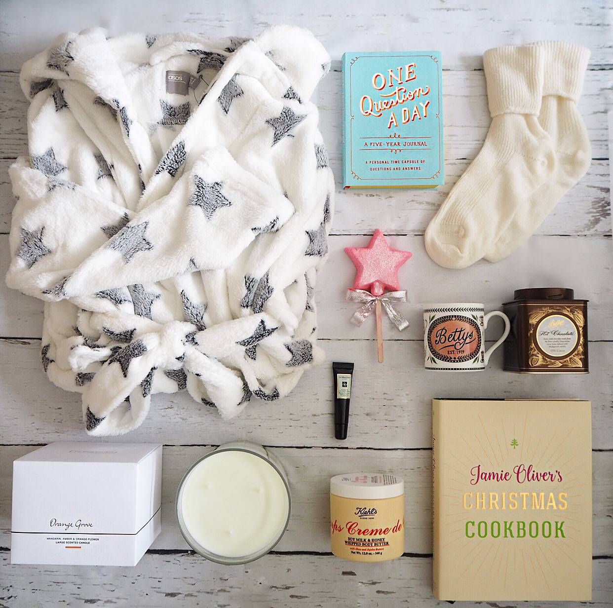 ASOS dressing gown, one question a day journal, lush star bubble wand, the white company cashmere socks, bettys hot chocolate, bettys mug, jo malone vitamin e lip conditioner, the white company orange grove candle, jamies christmas cookbook